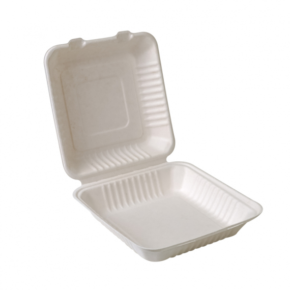 "9x9x3""Compostable Sugarcane Clamshell"