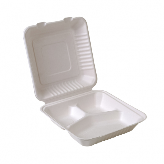 """9x9x3""""Compostable Sugarcane Clamshell – 3 Compartment"""