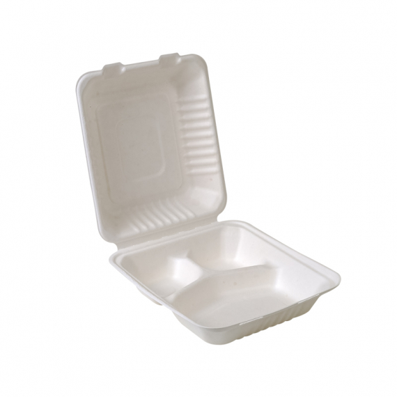 "8x8x3""Compostable Sugarcane Clamshell – 3 Compartment"