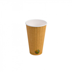 16oz Compostable INSULATED Double-Wall Hot Cup *NO SLEEVE NEEDED