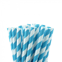 Paper Straw Blue Stripe