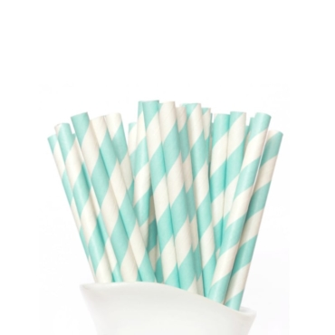 Paper Straw Aqua Green Stripe