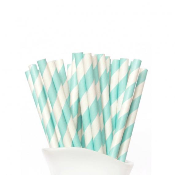 Paper Straw Aqua Green Stripe