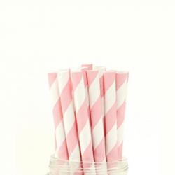 Paper Straw Pink Stripe
