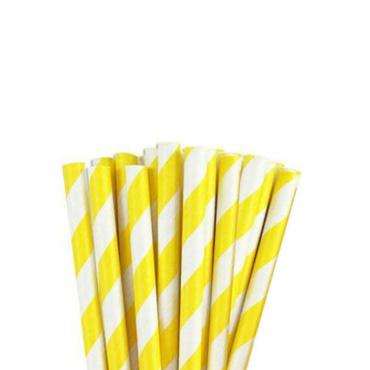 Paper Straw Yellow Stripe
