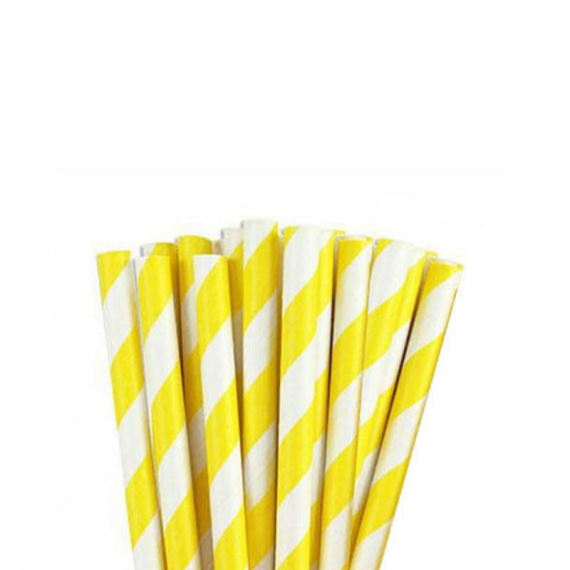 Paper Straw Yellow Stripe